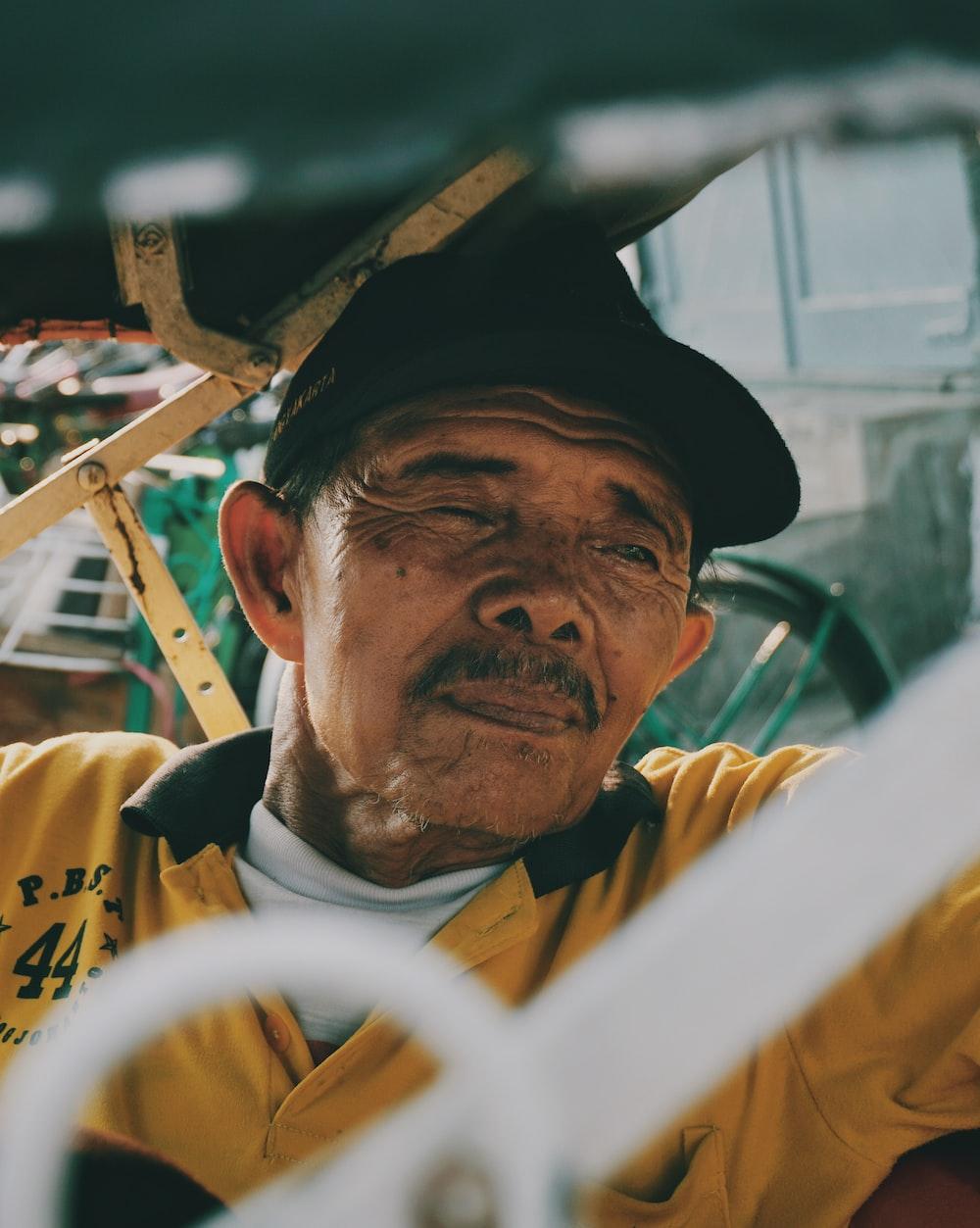 man sitting inside a sidecar