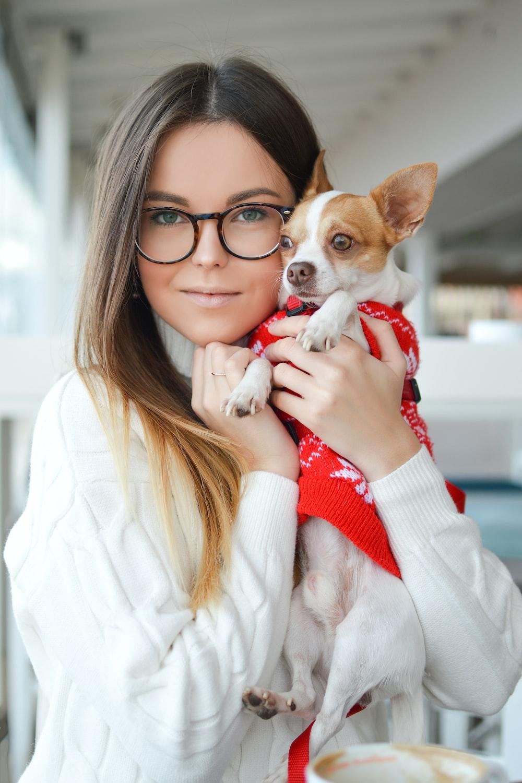 woman wearing sweater while cuddling Chihuahua