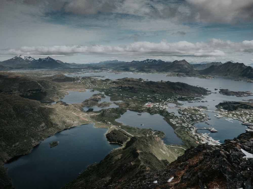 aerial landscape photography of mountains and lake