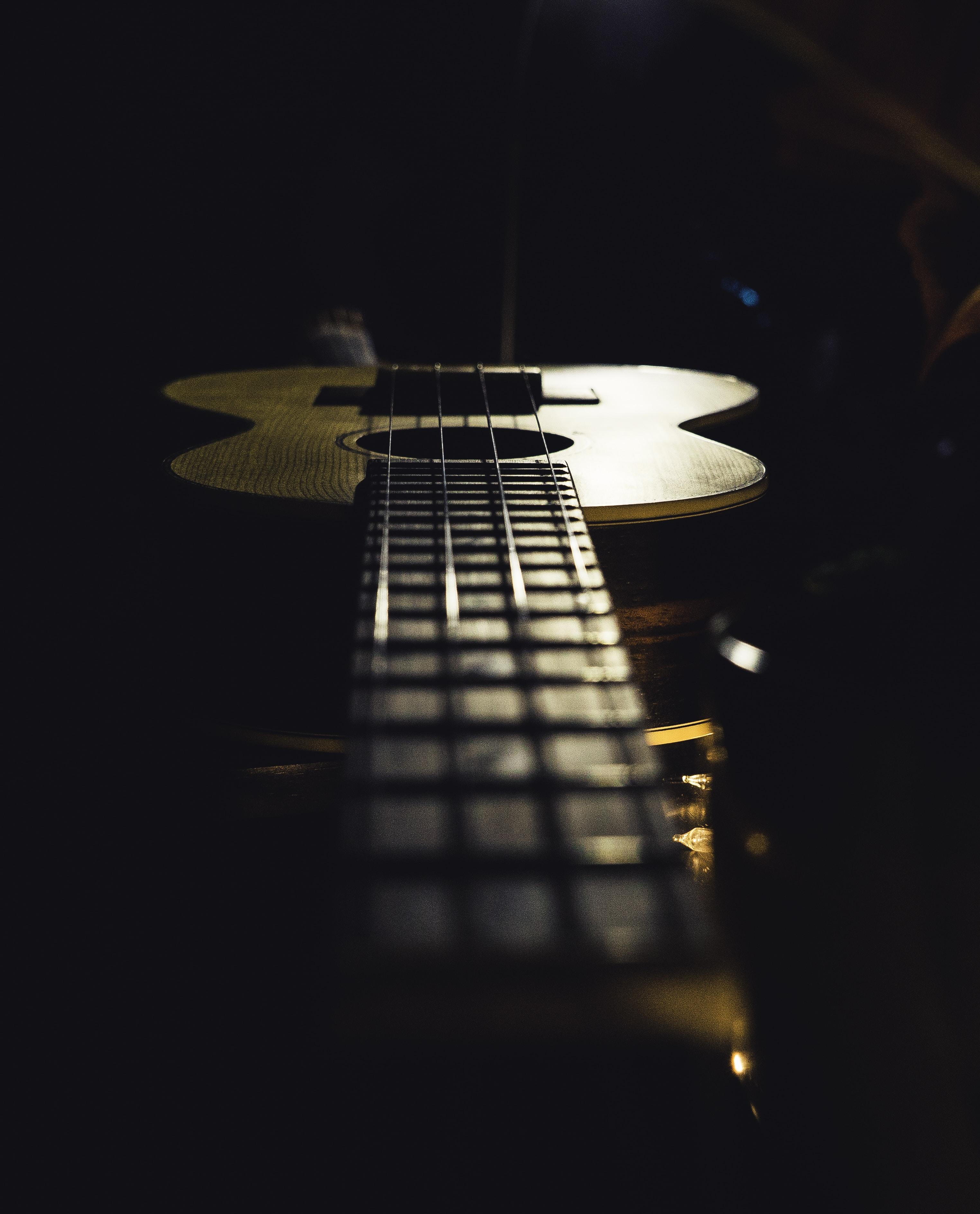 ukulele on wooden surface