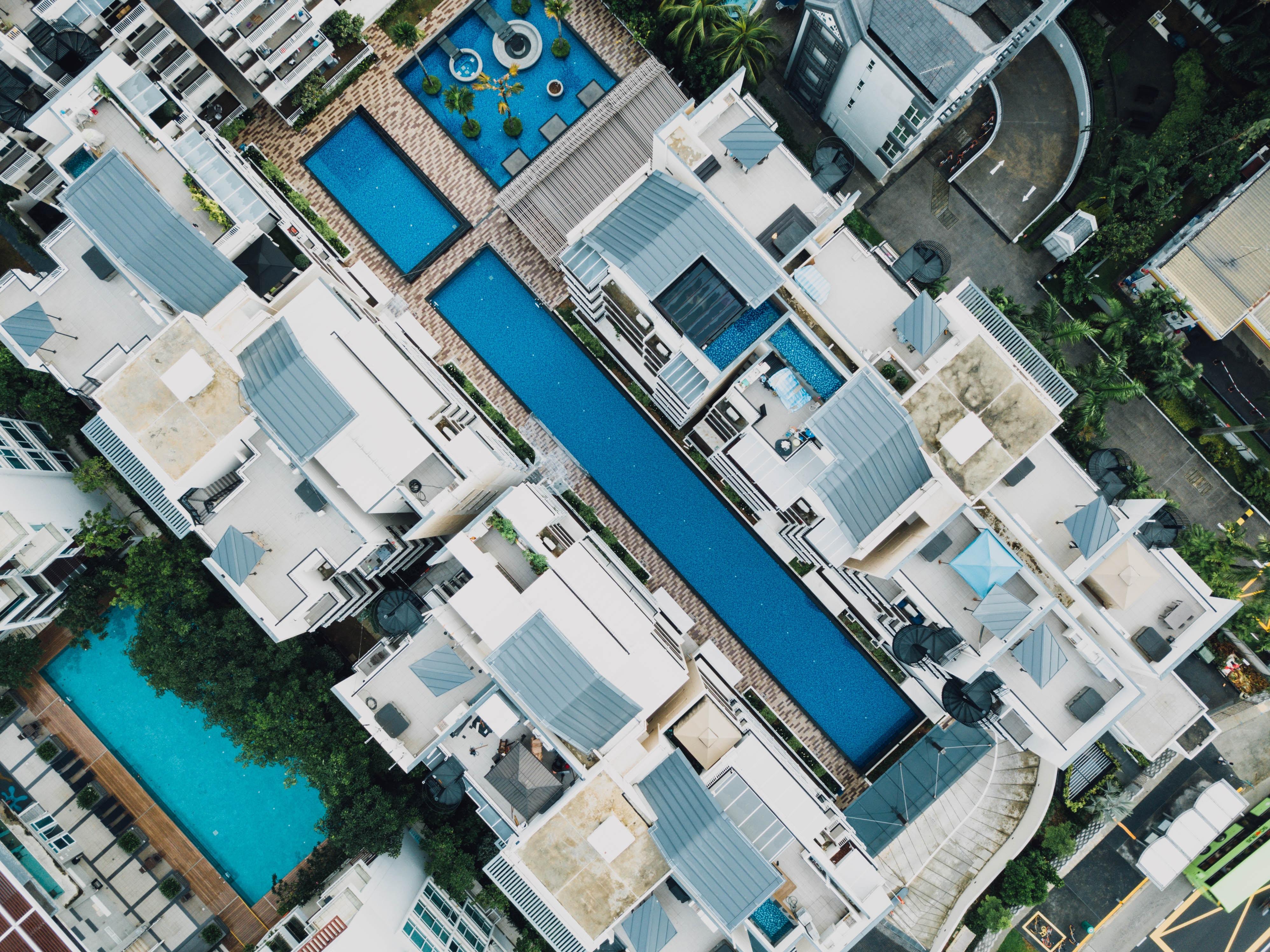 aerial shot of white houses