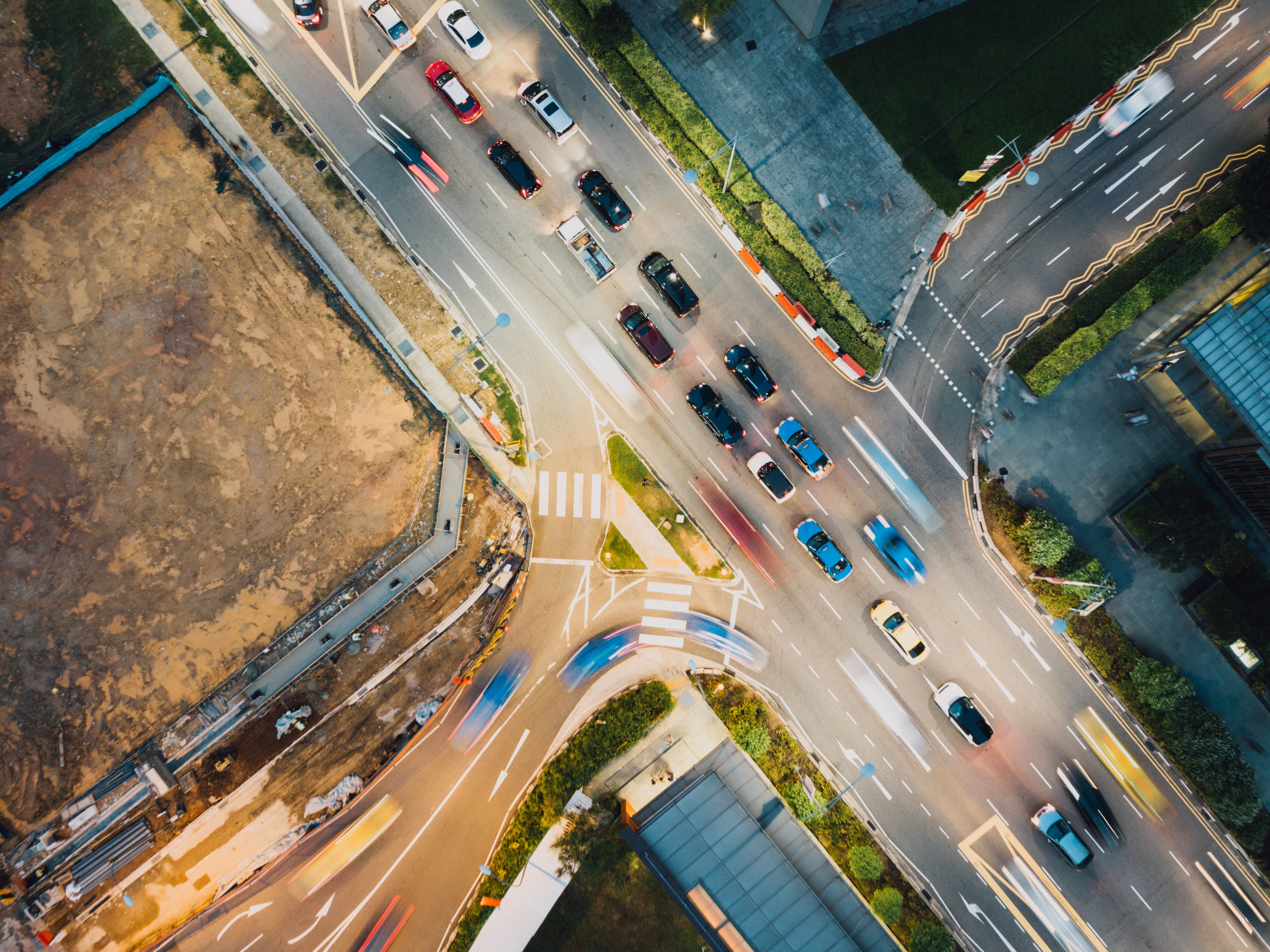 aerial photography of busy highway
