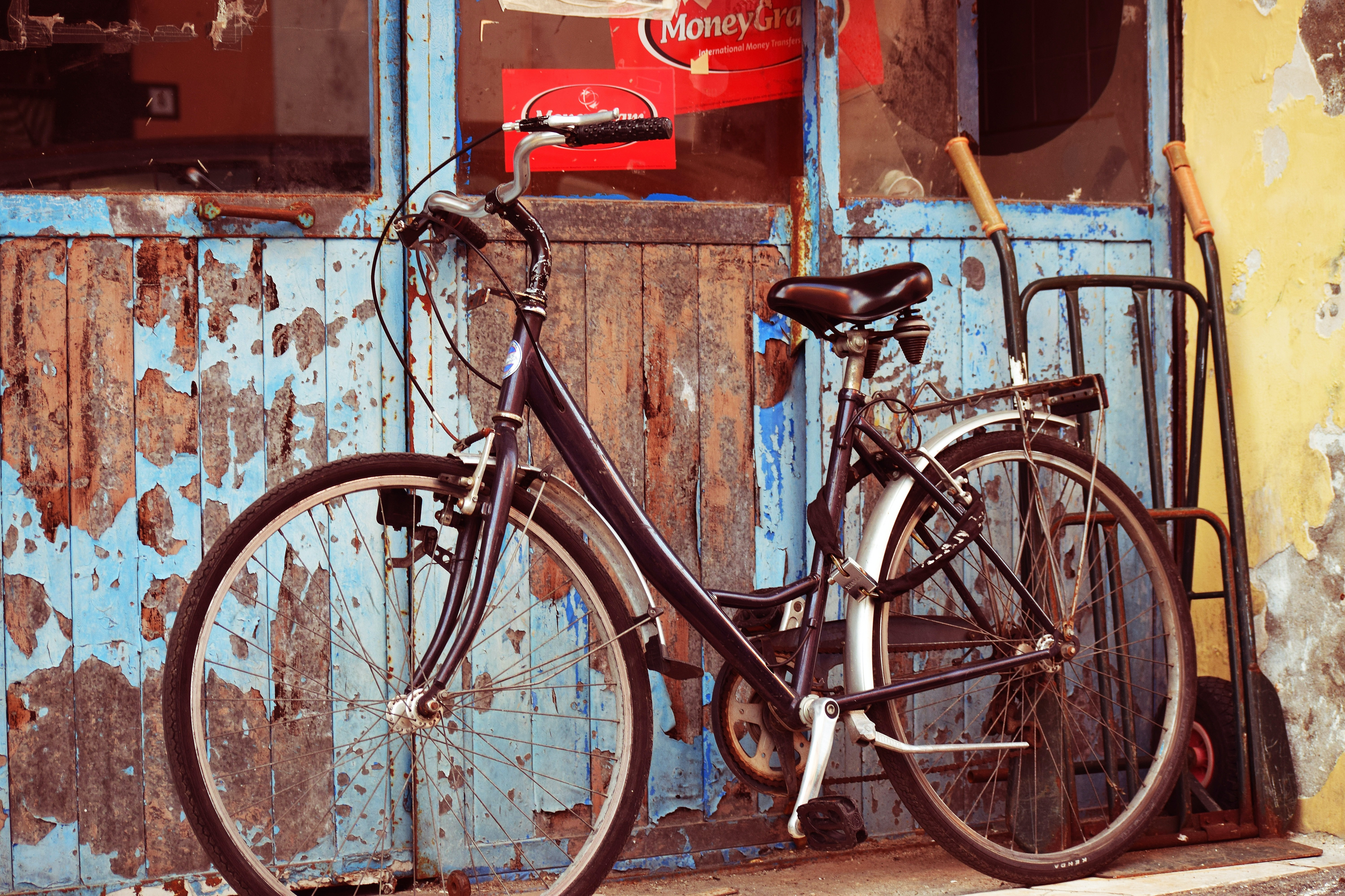 black and gray cruiser bicycle in front of blue wooden door
