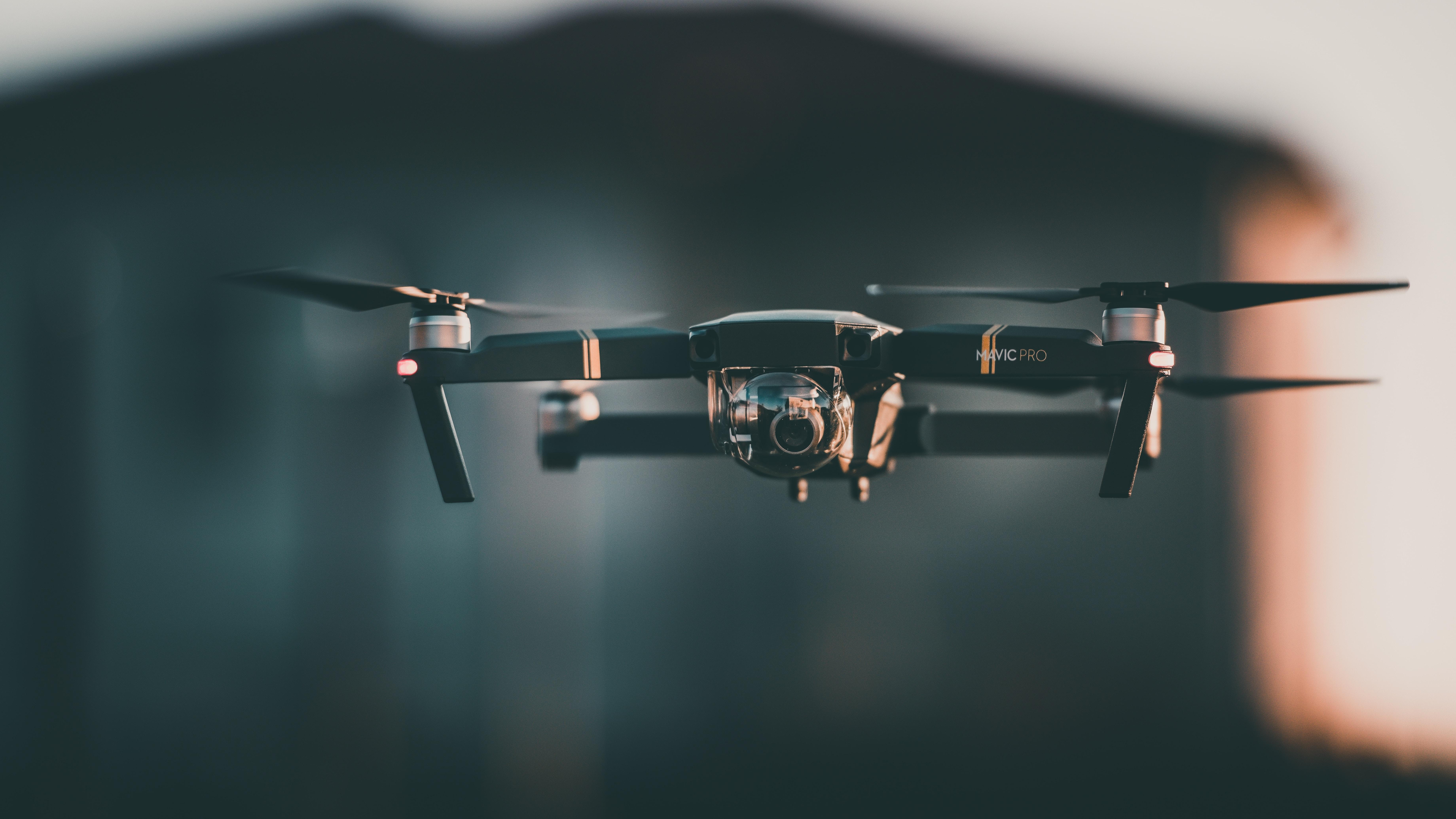 flying black drone