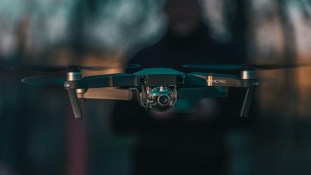 black quadcopter drone close-up photography