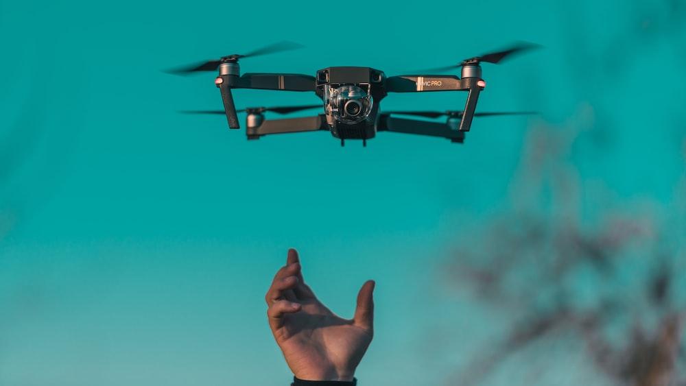 tilt shift lens photo of mini drone