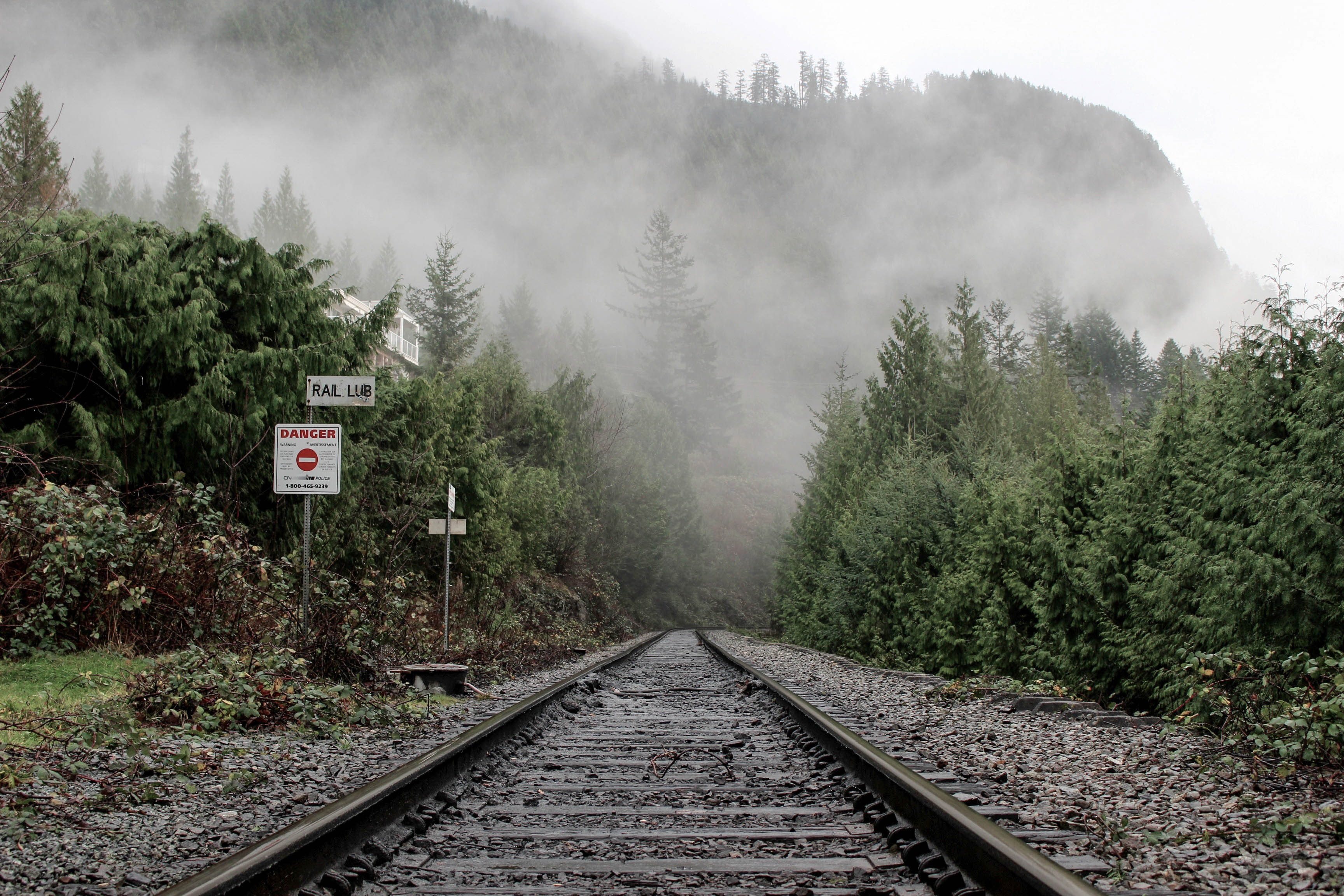 railroad leading to mountain covered with fogs