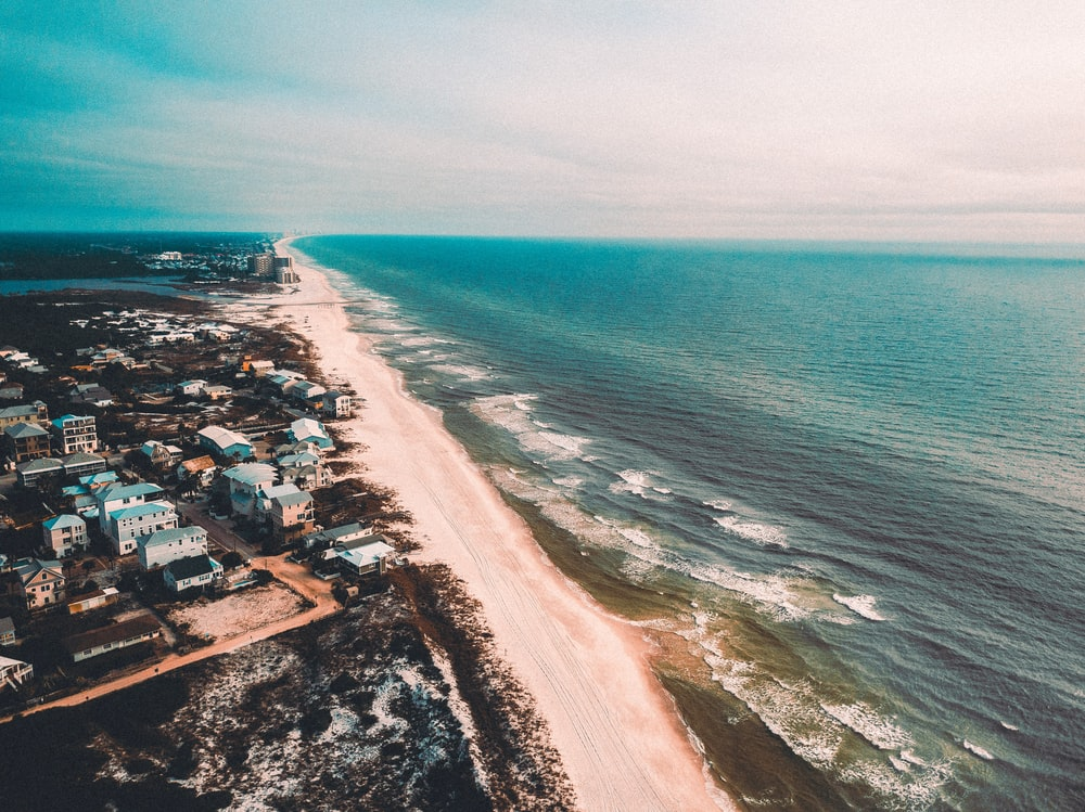 aerial photo of beach shore pathway between houses and body of water