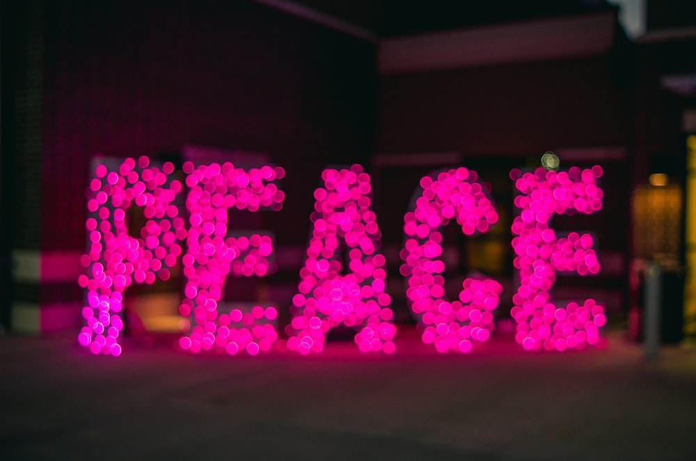 Peace neon signage