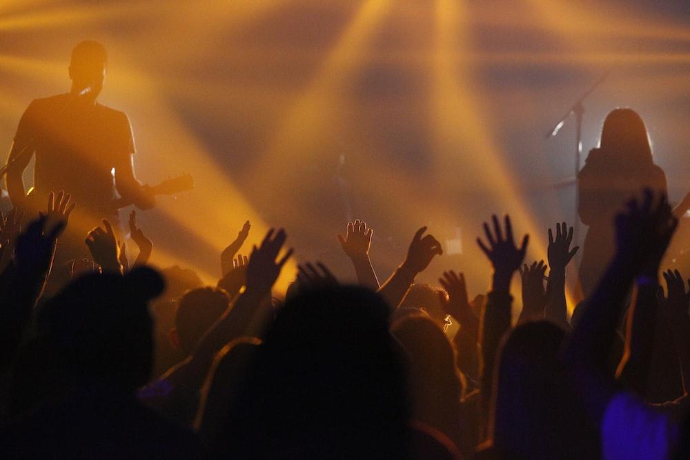 people raising hands on concert