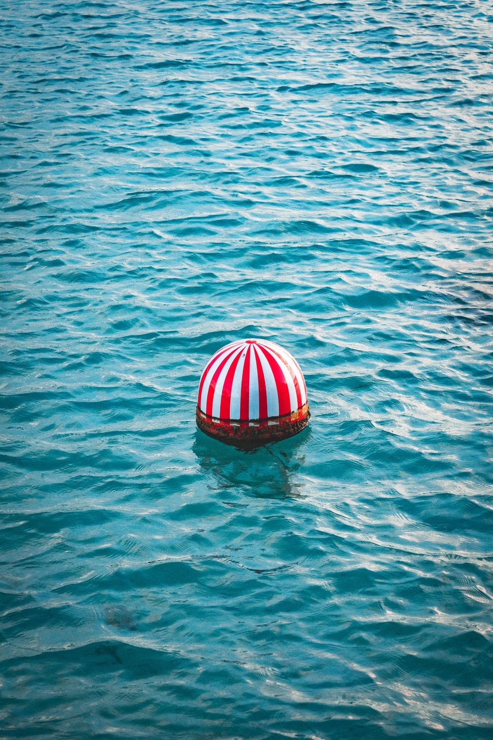red and white buoy on body of water during daytime