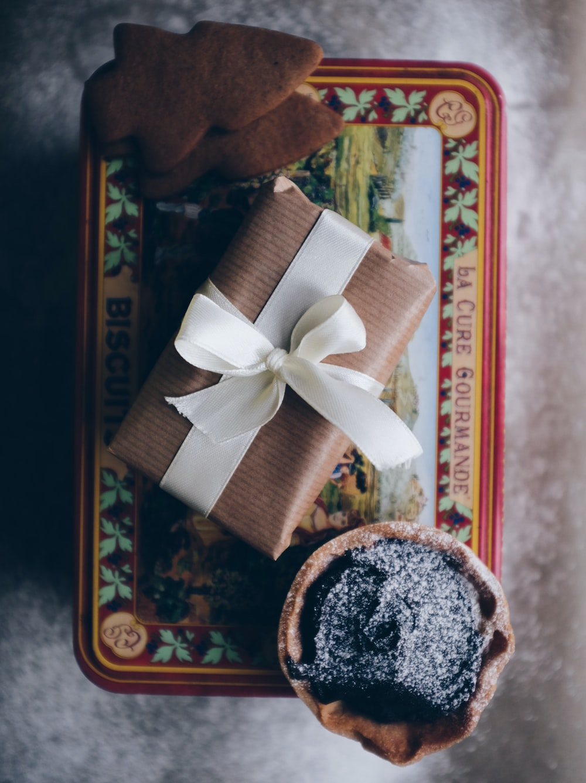 gift box with white ribbon