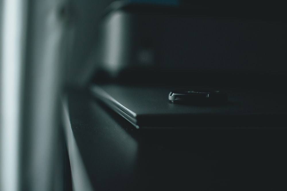 focus photography of desk