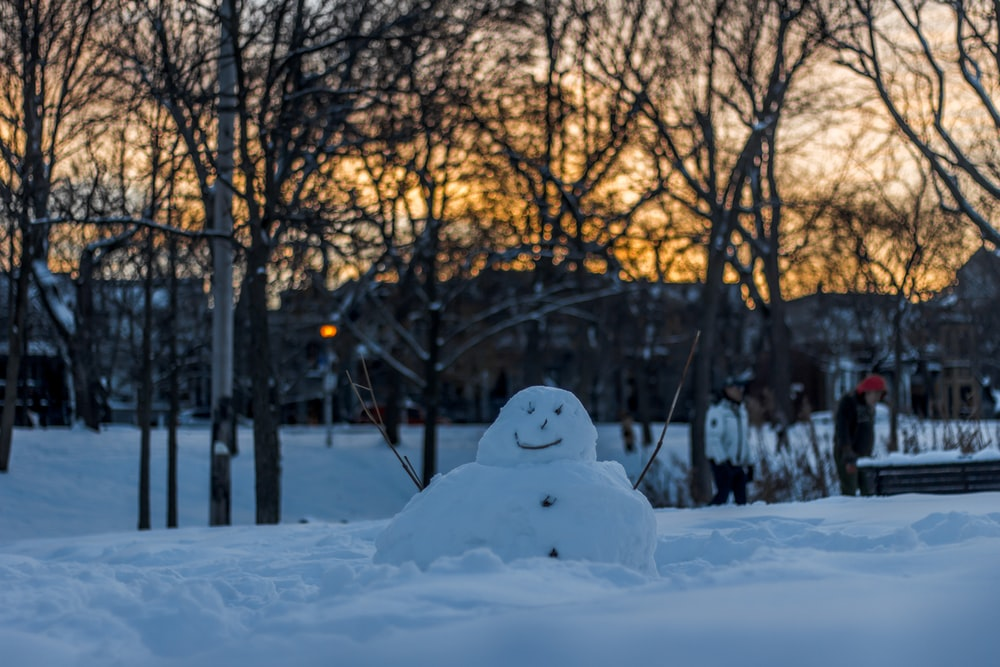 snowman near the people and trees at sunset