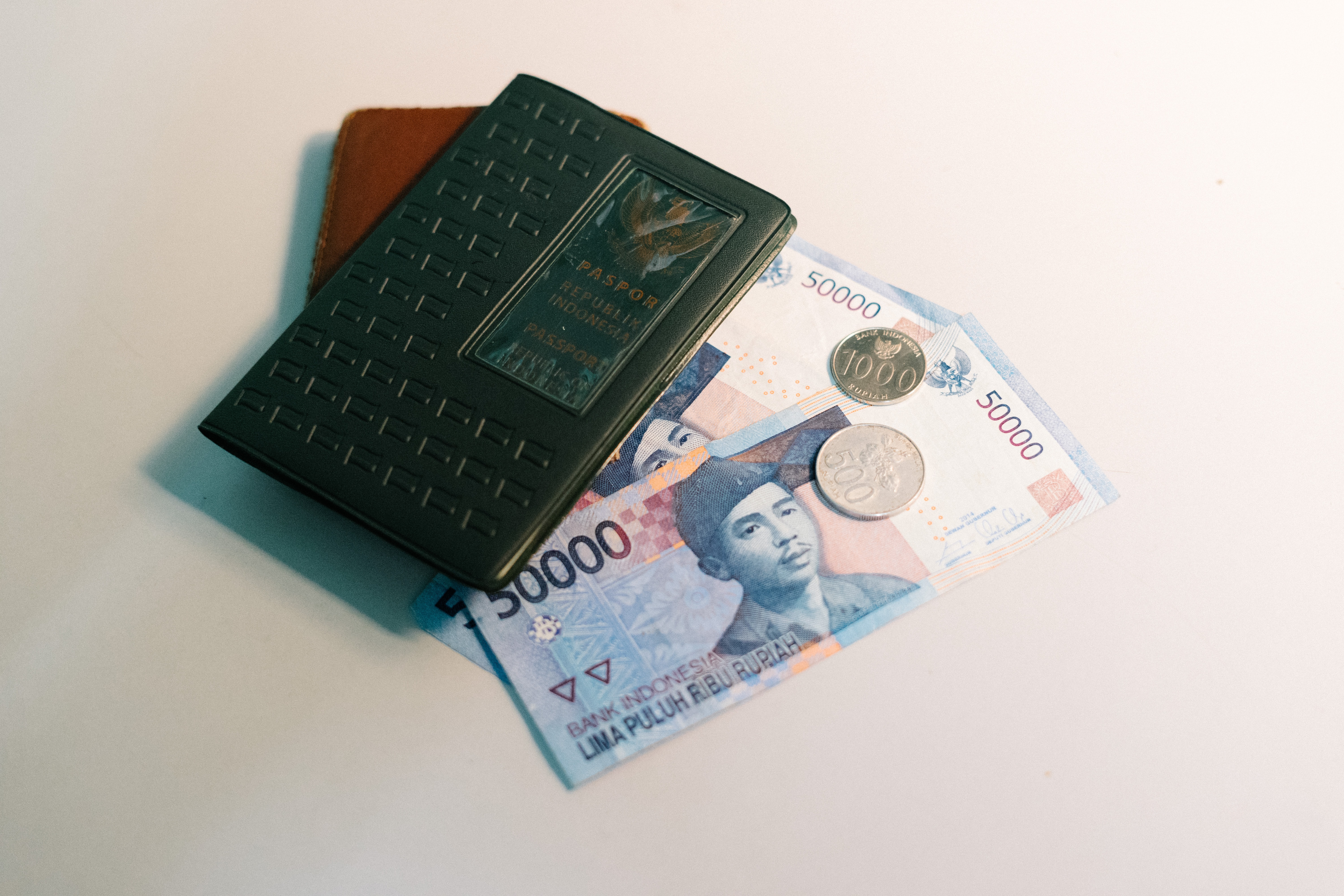 banknote and Passport on white panel