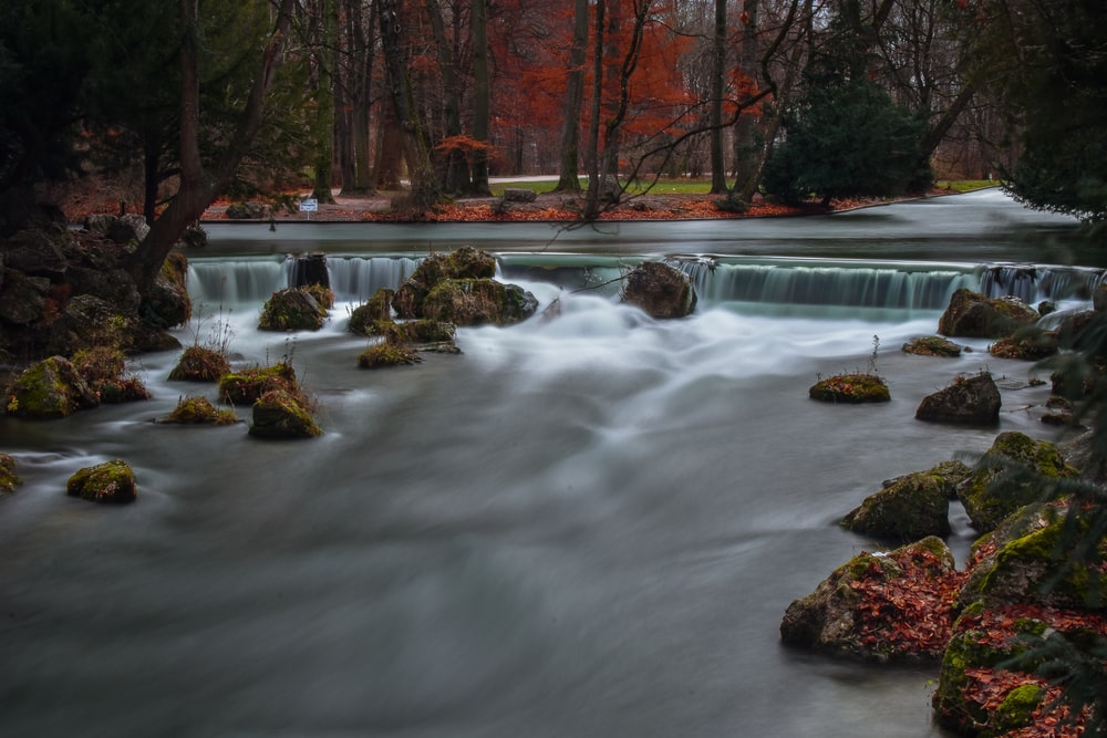 time lapse photography of river surrounded by red trees