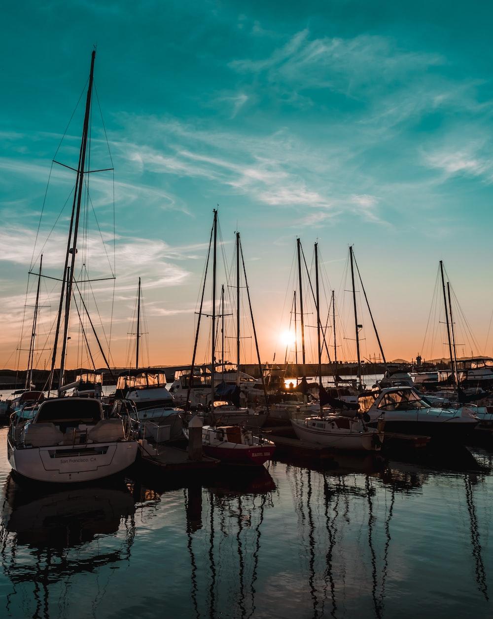 white sailboats under blue sky