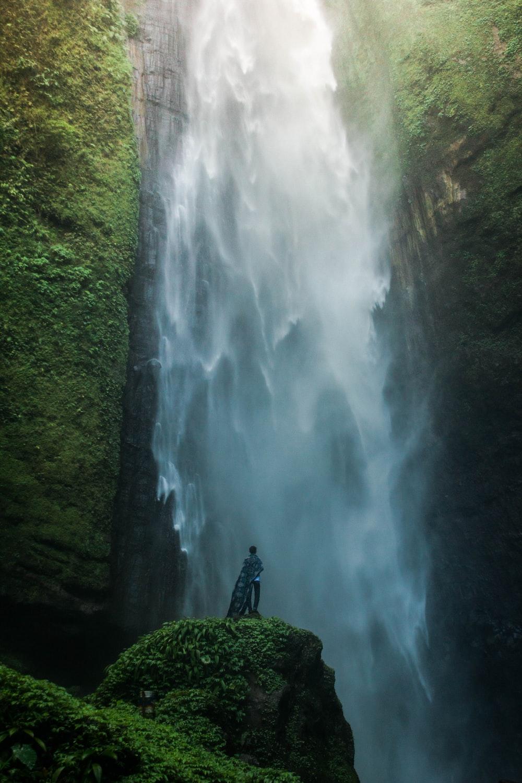 waterfalls between mountain