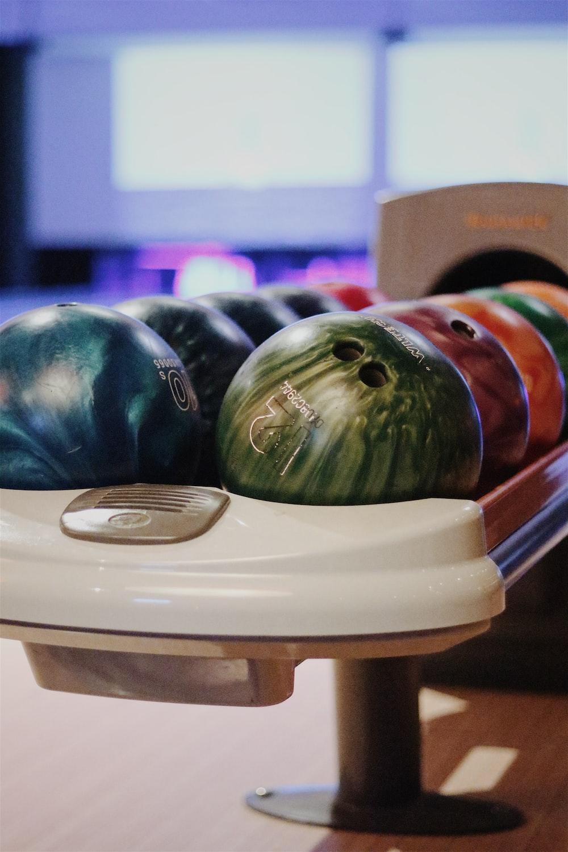 macro shot of assorted bowling balls