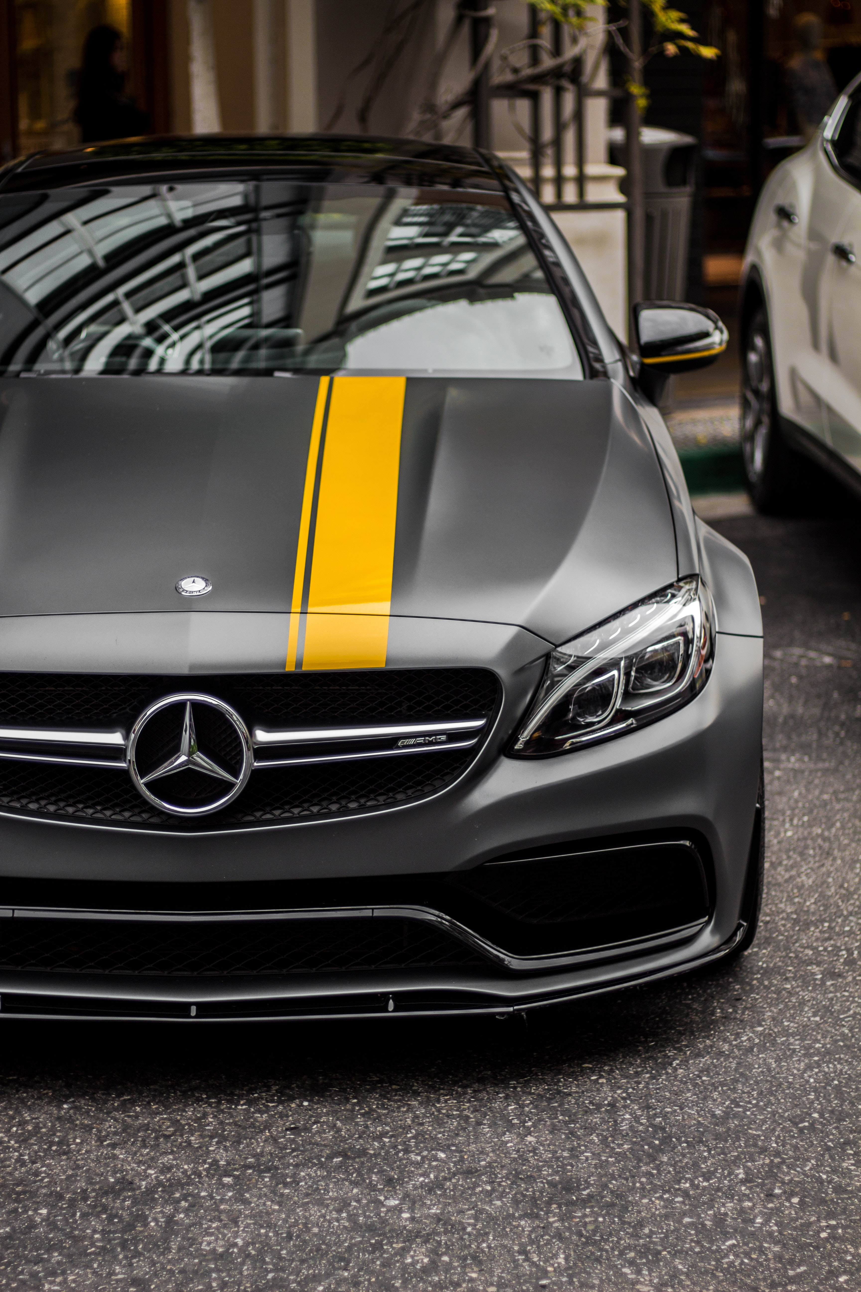 black Mercedes-Benz car