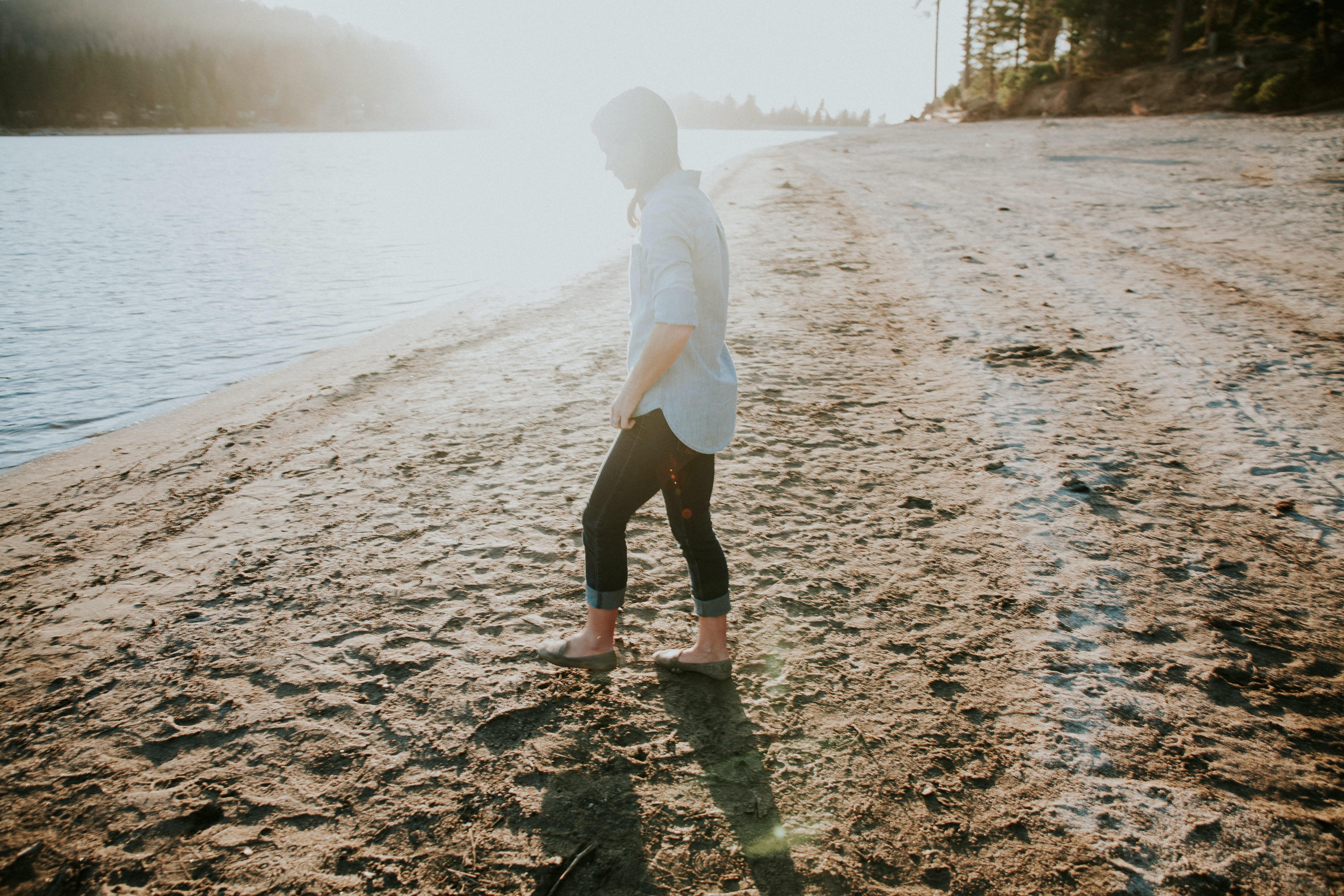 person beside seashore