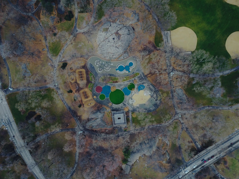 aerial view of swimming pools