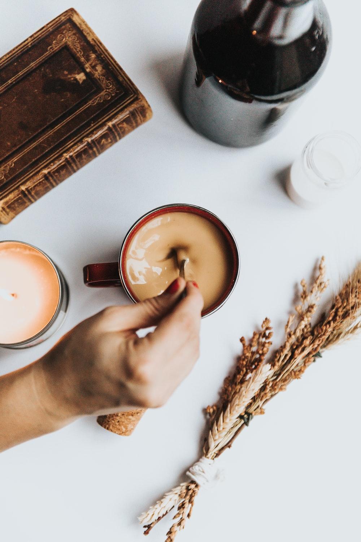 coffee served on red ceramic mug