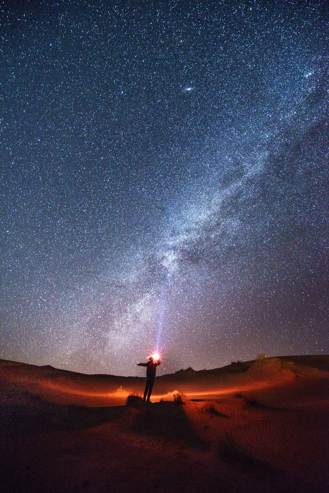 The night of the Sahara desert, the stars were in the sky