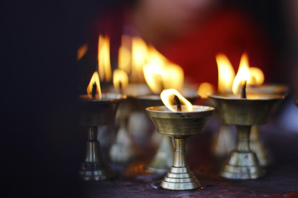 tealight candles burning