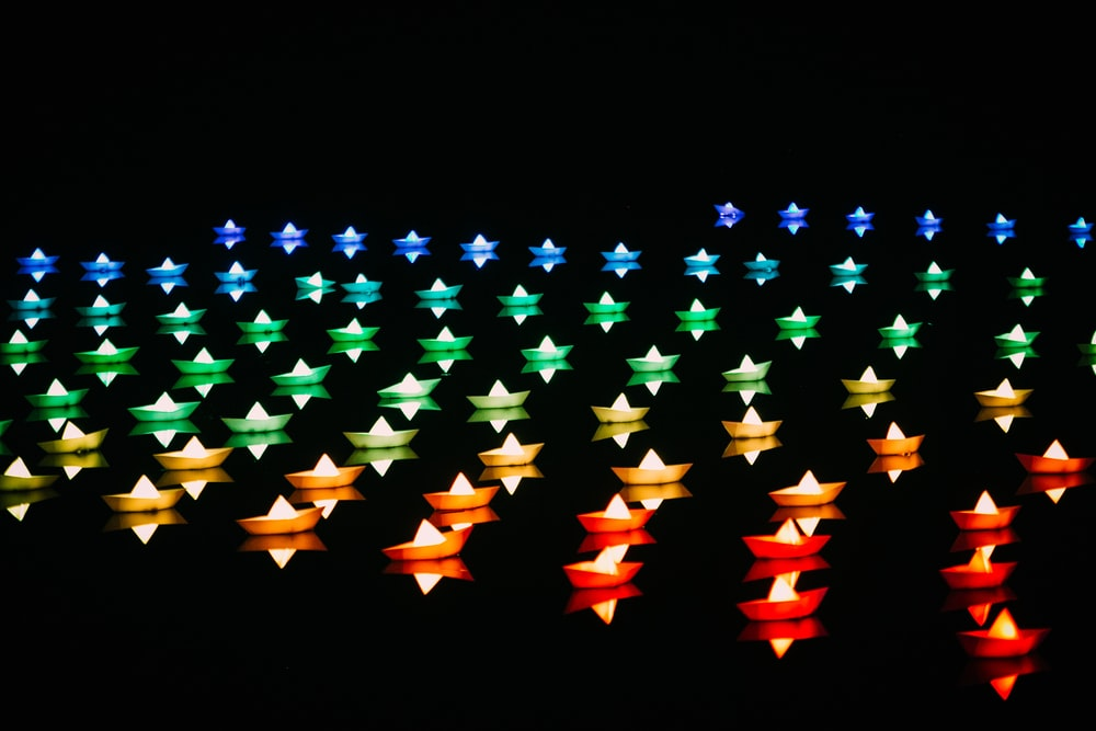 assorted-color lighted boats