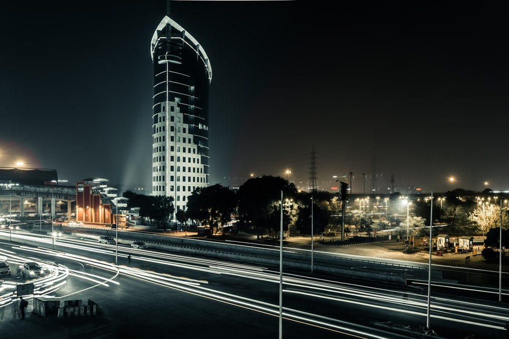 buildings and road lights during nighttime