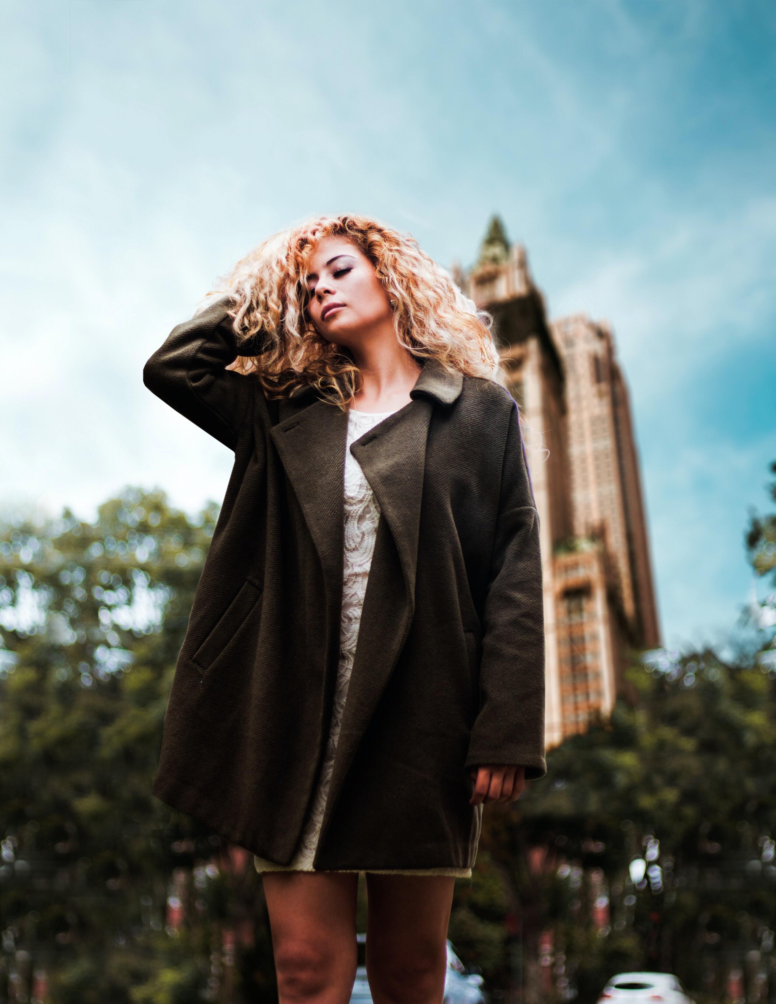 woman in black coat