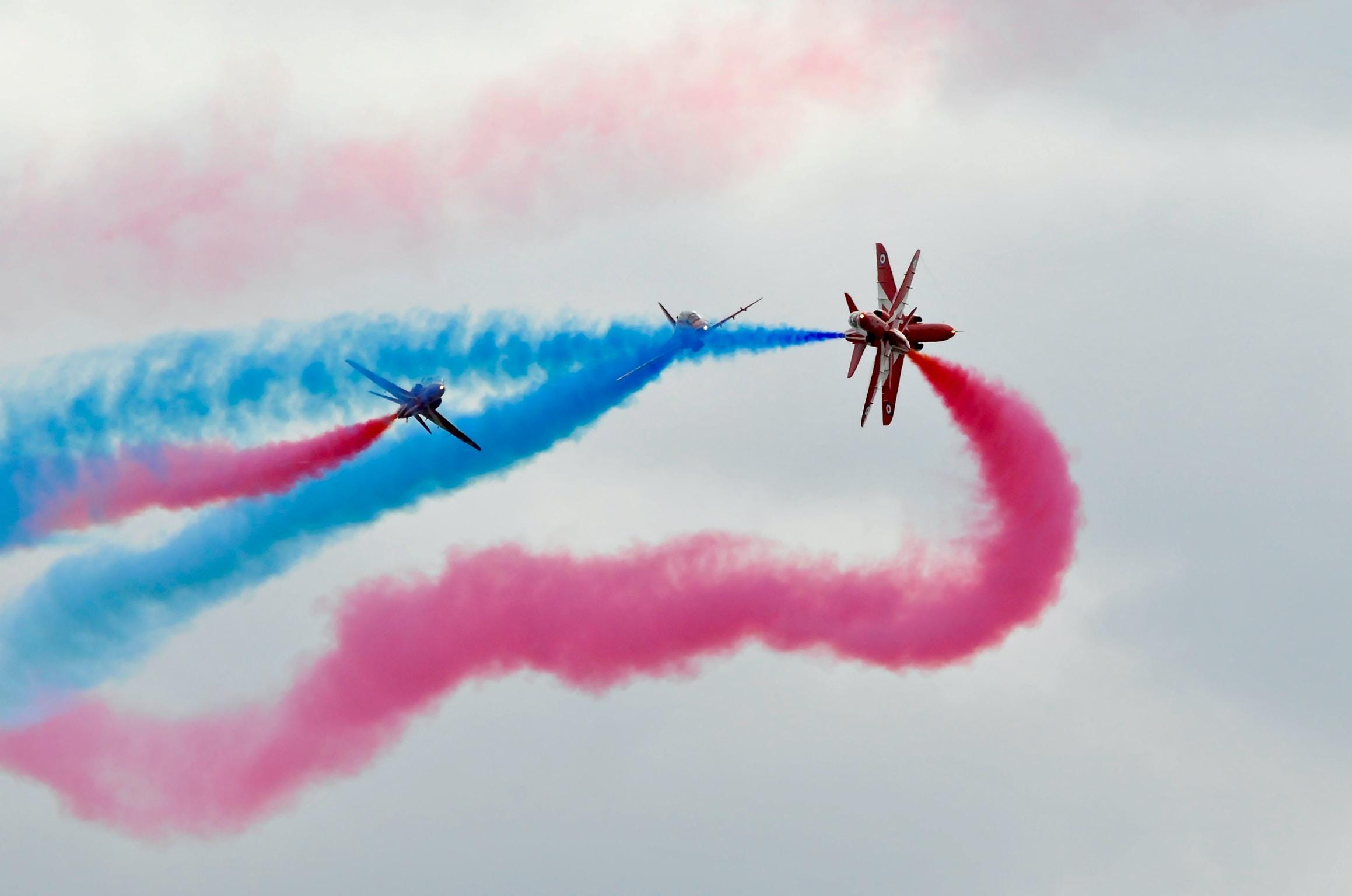 three planes doing aerobatics