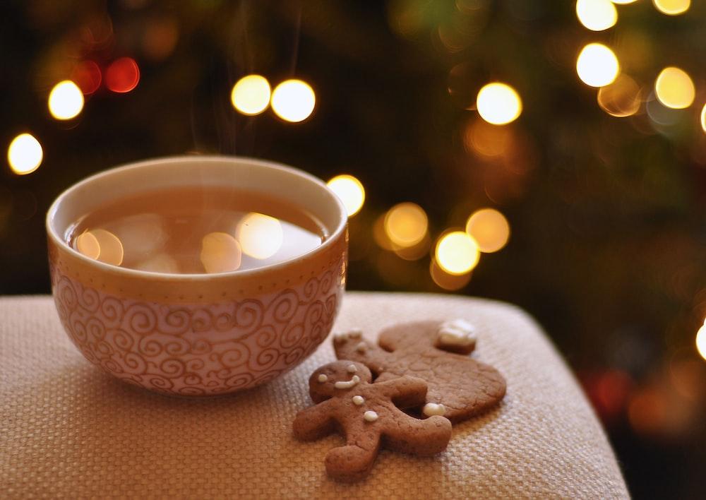 gingerbread near bowl with liquid