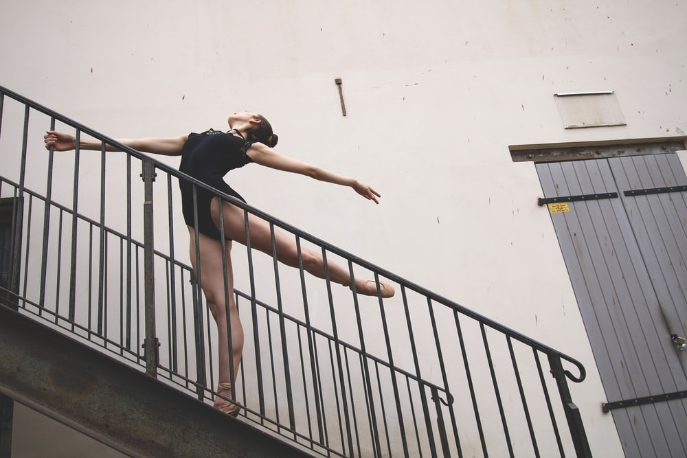 ballerina dancer on staircase