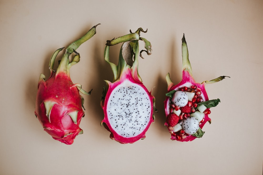 sliced pitaya fruits