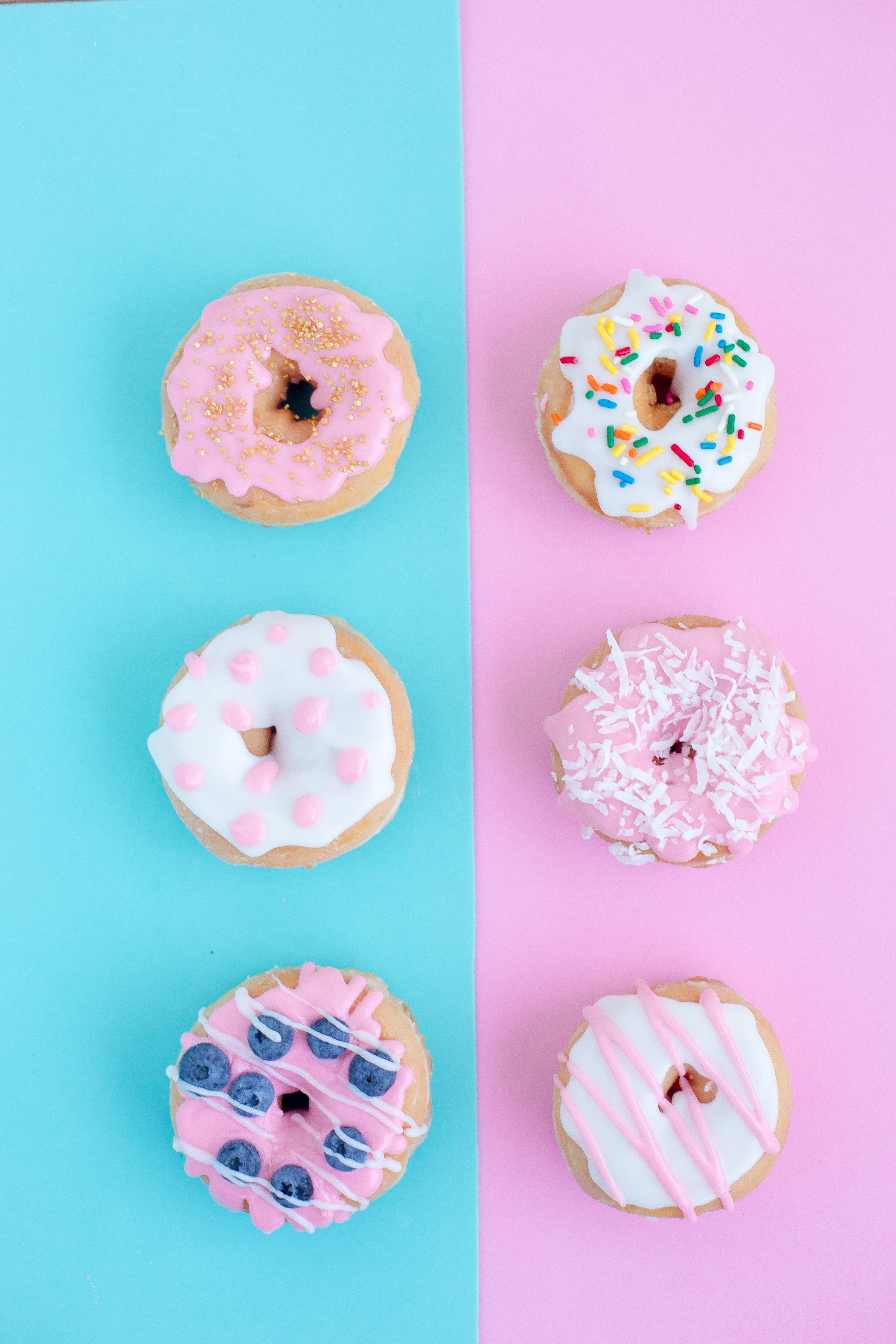 six assorted-flavor doughnuts