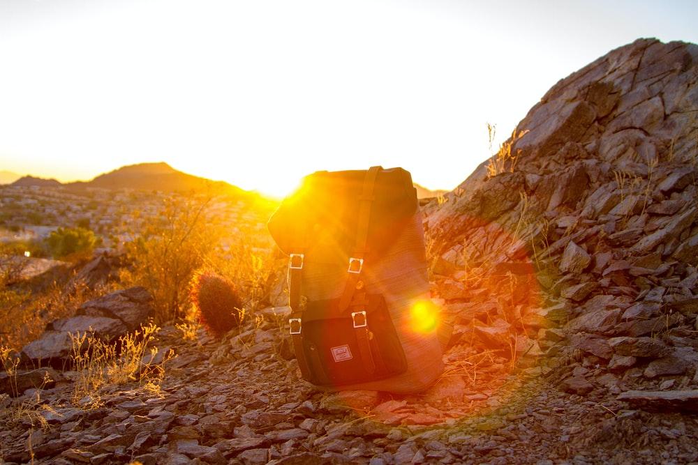 silhouette photo of Herschel backpack
