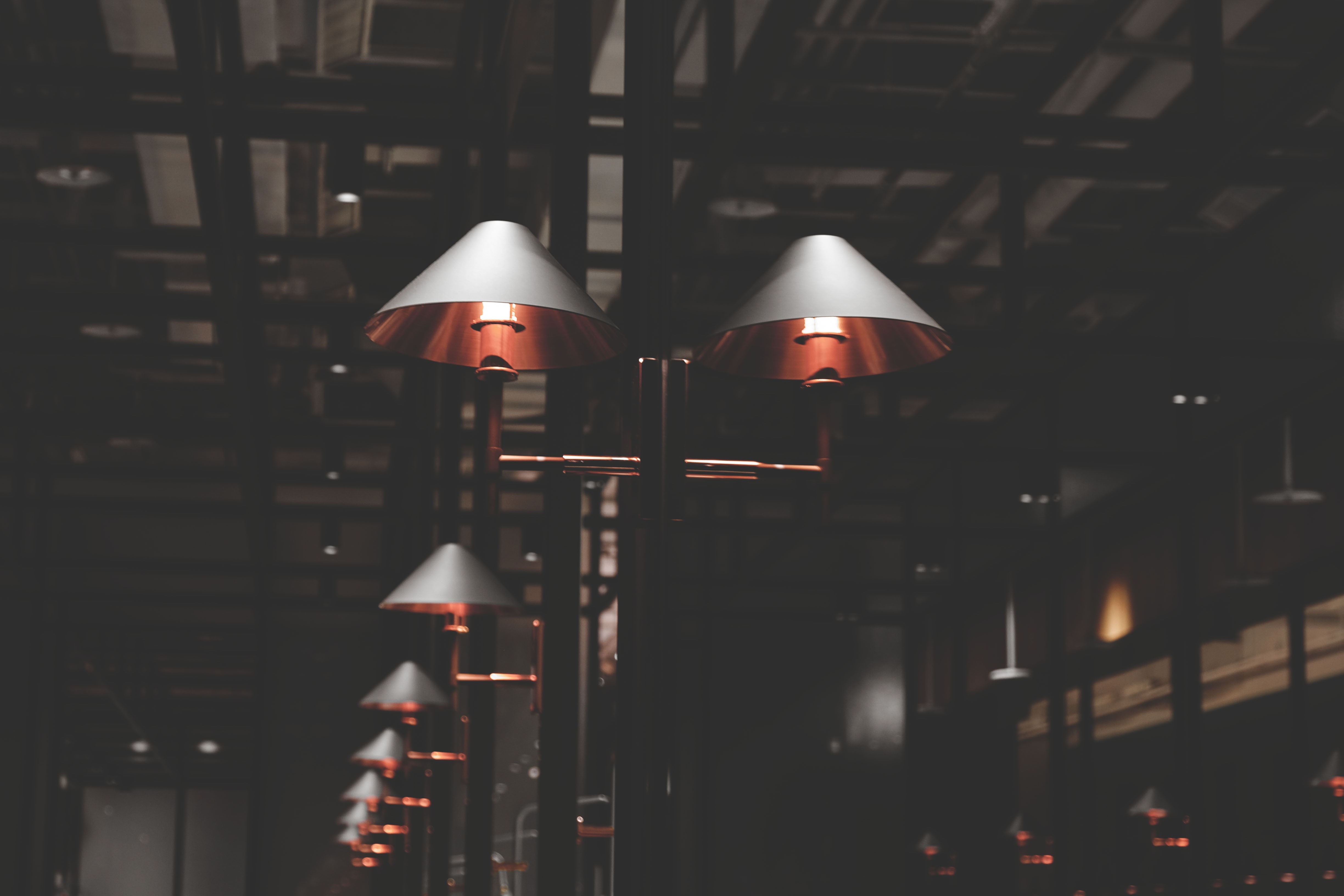 building interior with pendant lamps