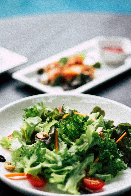 vegetable dish on white ceramic plate