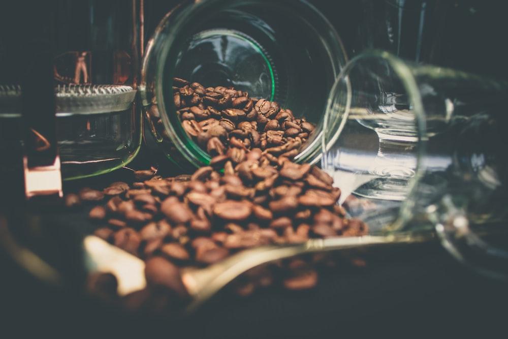 coffee beans near clear glass cup