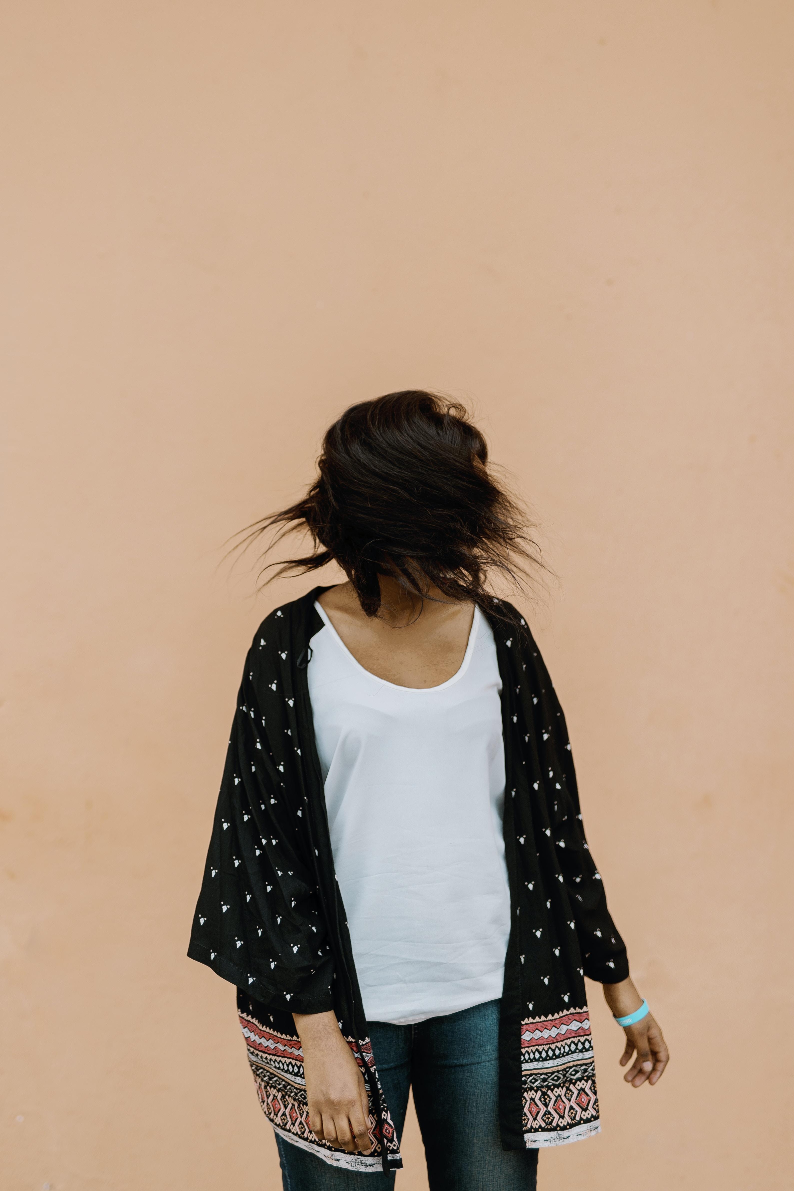 woman in black open cardigan