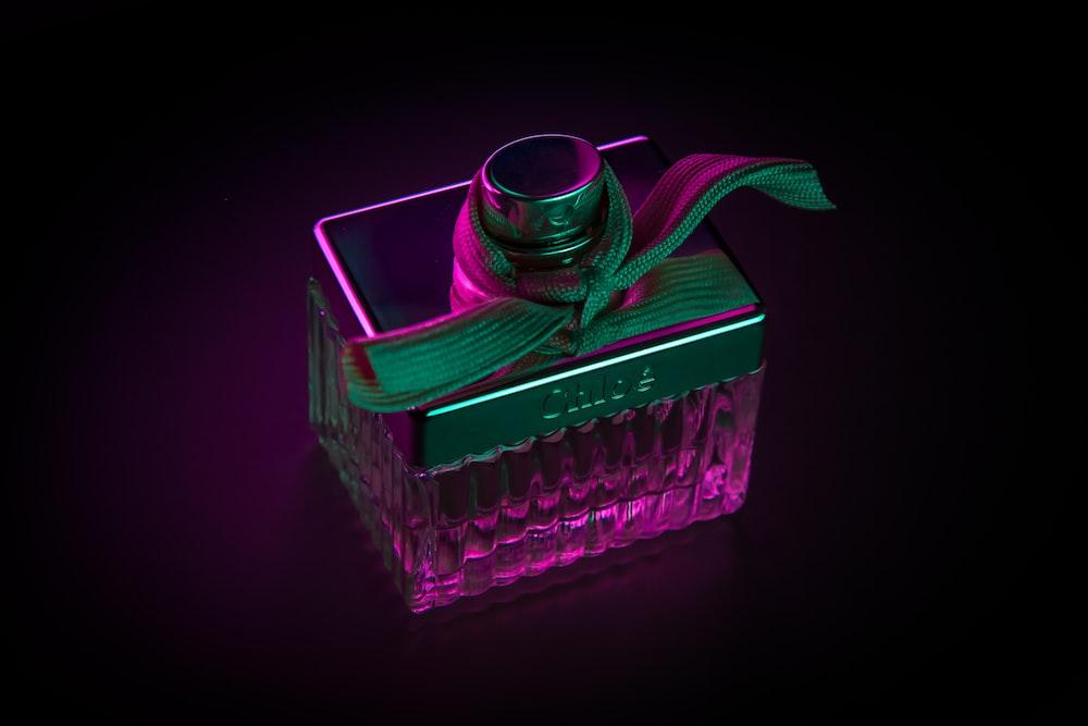purple fragrance bottle