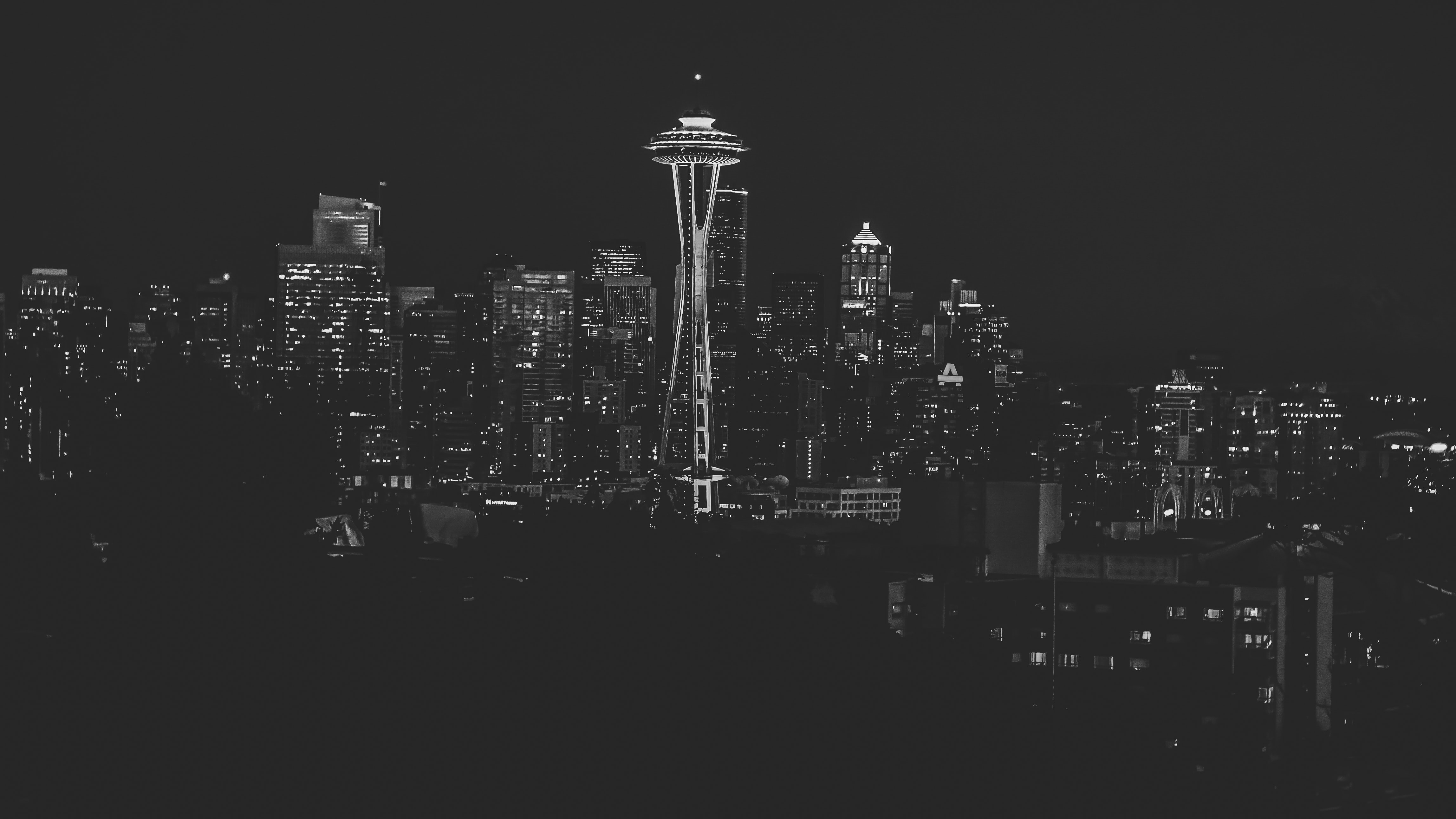 grayscale photo of space needle