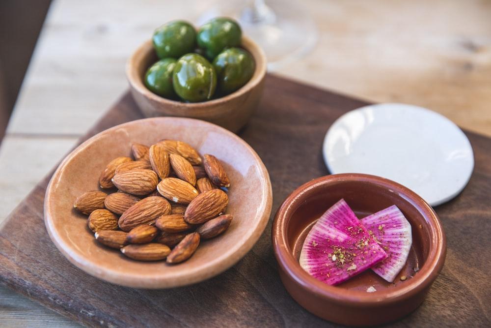 almonds on saucer
