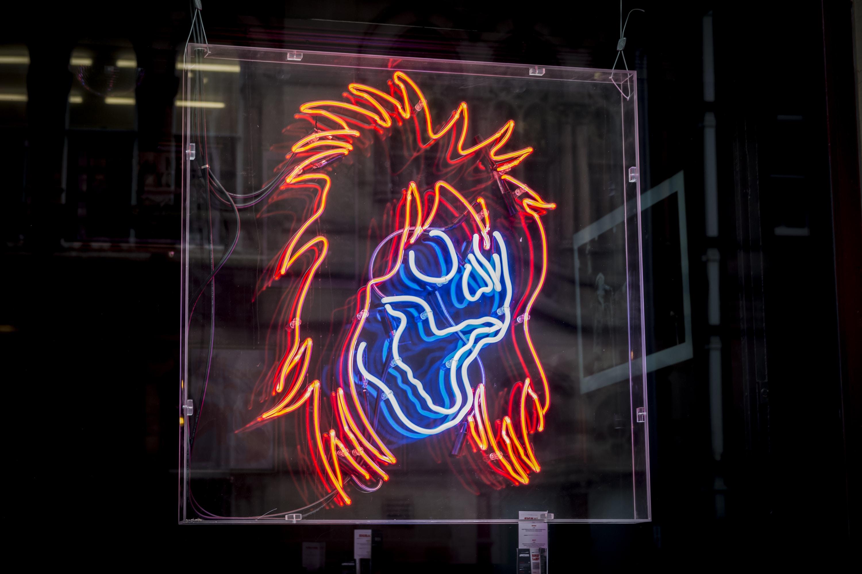 orange hair and blue skull neon light illustration