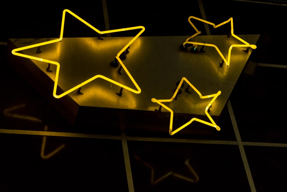 stars neon decorations during nighttime