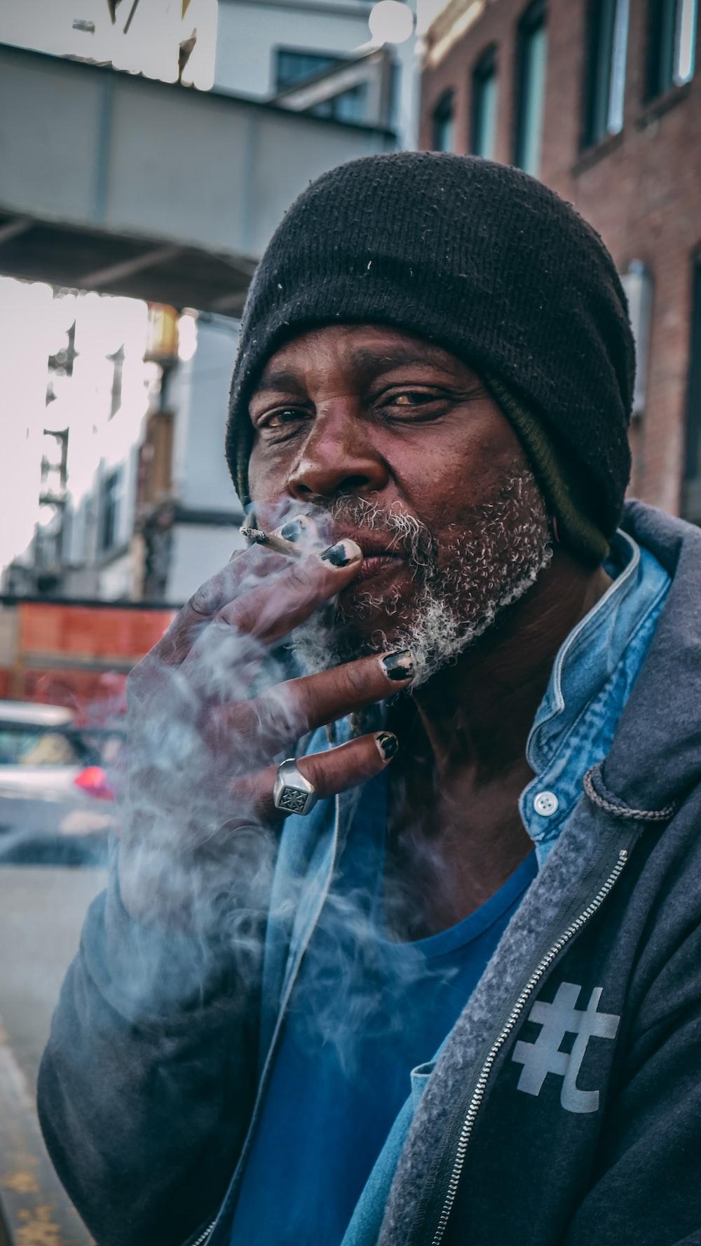 man smoking outdoor