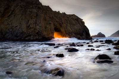 running water near brown stone cave seascape zoom background