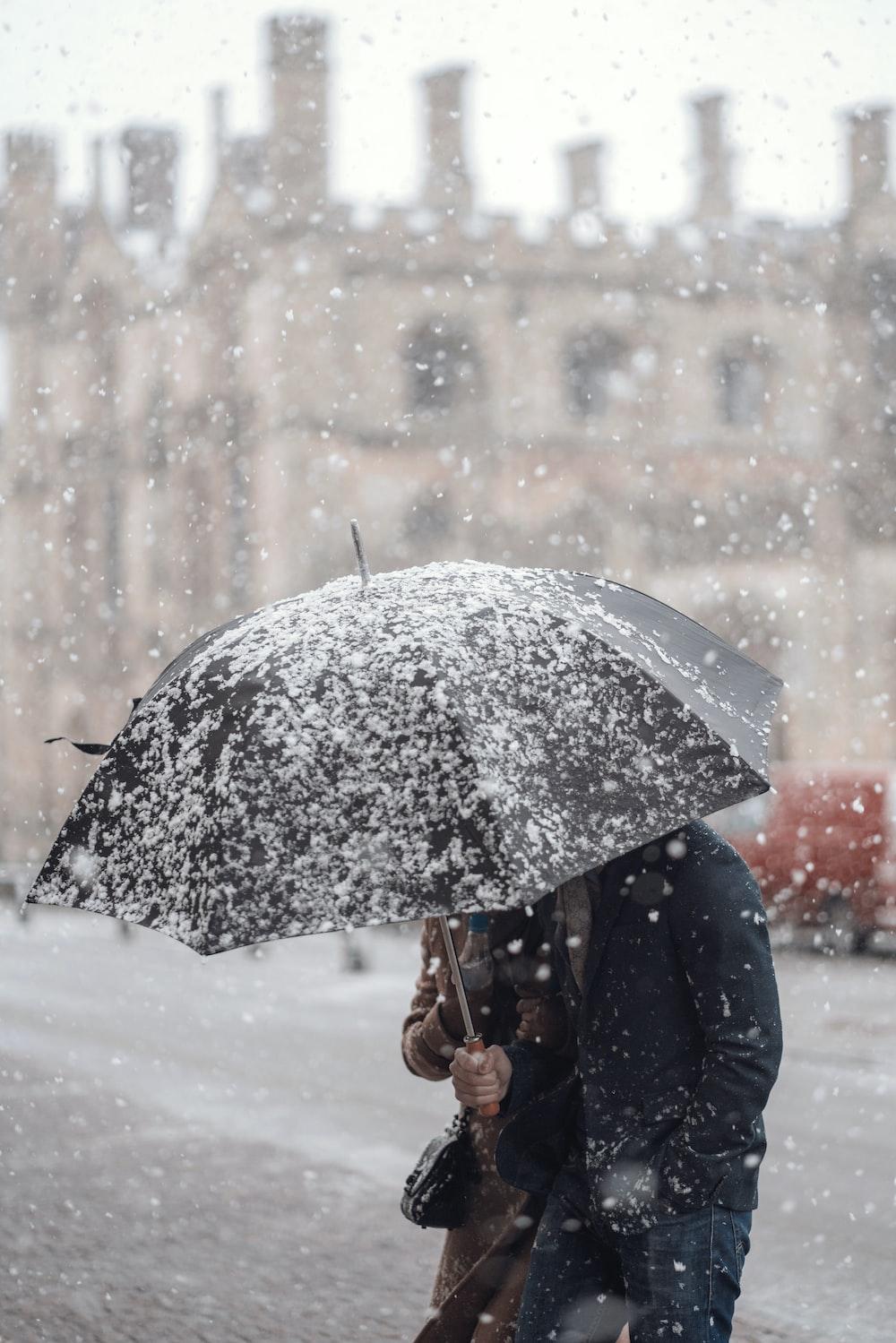 person holding black umbrella